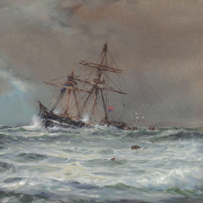 A dramatic gouache and watercolor marine scene showing a view of turbulent ocean waters overwhelming a three-masted ship.   Signed lower left, 'A. Wilde Parsons' for Arthur Wilde Parsons (British, 1854 - 1931) and dated 1910.  A marine and landscape