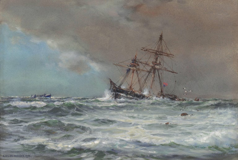 Arthur Wilde Parsons  Landscape Art - 'Rescue at Sea', English Seascape, Royal Society of British Artists