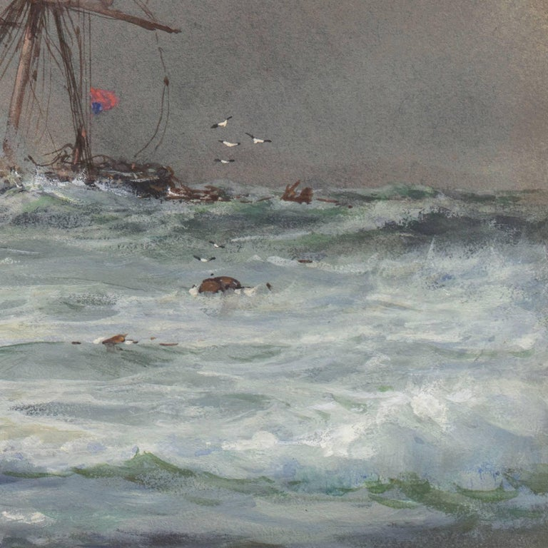 'Rescue at Sea', English Seascape, Royal Society of British Artists For Sale 2