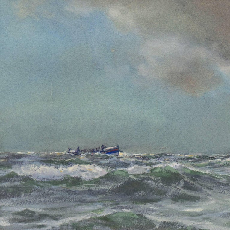 'Rescue at Sea', English Seascape, Royal Society of British Artists For Sale 1