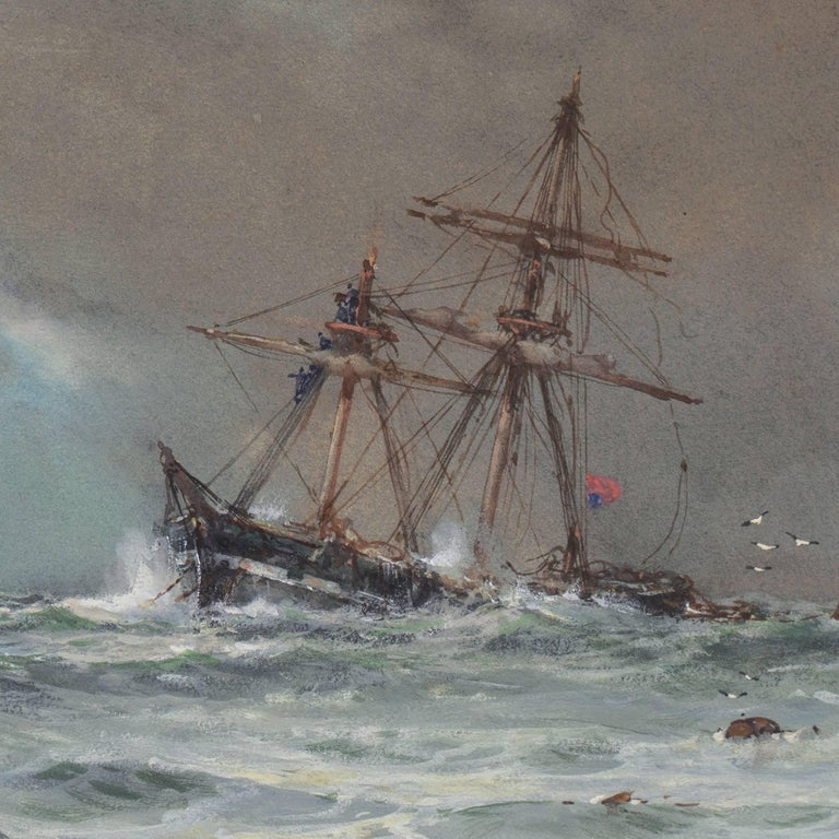 'Rescue at Sea', English Seascape, Royal Society of British Artists For Sale 3