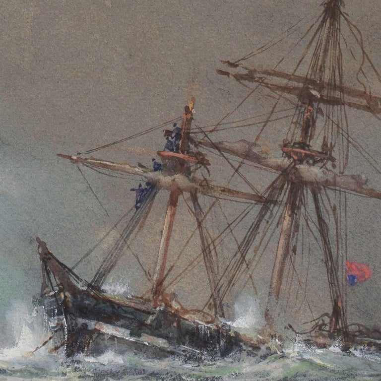 'Rescue at Sea', English Seascape, Royal Society of British Artists For Sale 4