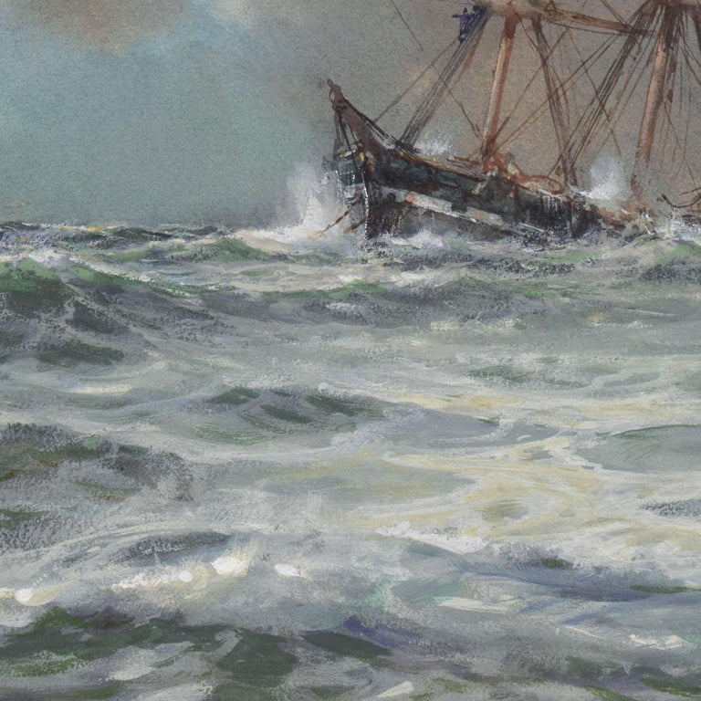'Rescue at Sea', English Seascape, Royal Society of British Artists For Sale 5