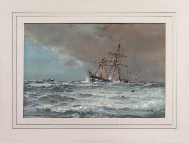'Rescue at Sea', English Seascape, Royal Society of British Artists For Sale 6