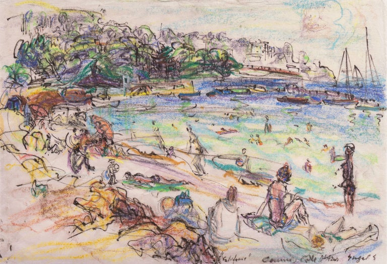 Signed lower right 'Engel G' and titled, 'Californie ... Cote d'Azur'.  Born in Badenweiler, Germany, Irma Engel Leisinger Grabhorn studied in Paris with Andre Lhote beginning in 1926. In 1930 she entered the Berlin Academy and studied further with