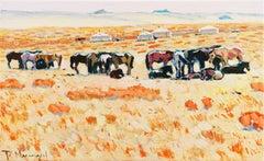 Mongol Nomads, Springtime   (Mongolia, Rural, Horses, Impressionism)