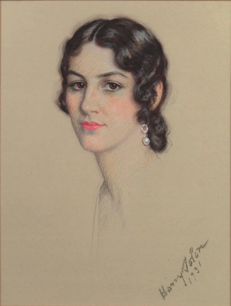 Early 20th century Portrait Study, 'Mrs. Washburne', Washington Socialite - Art by Harry Solon
