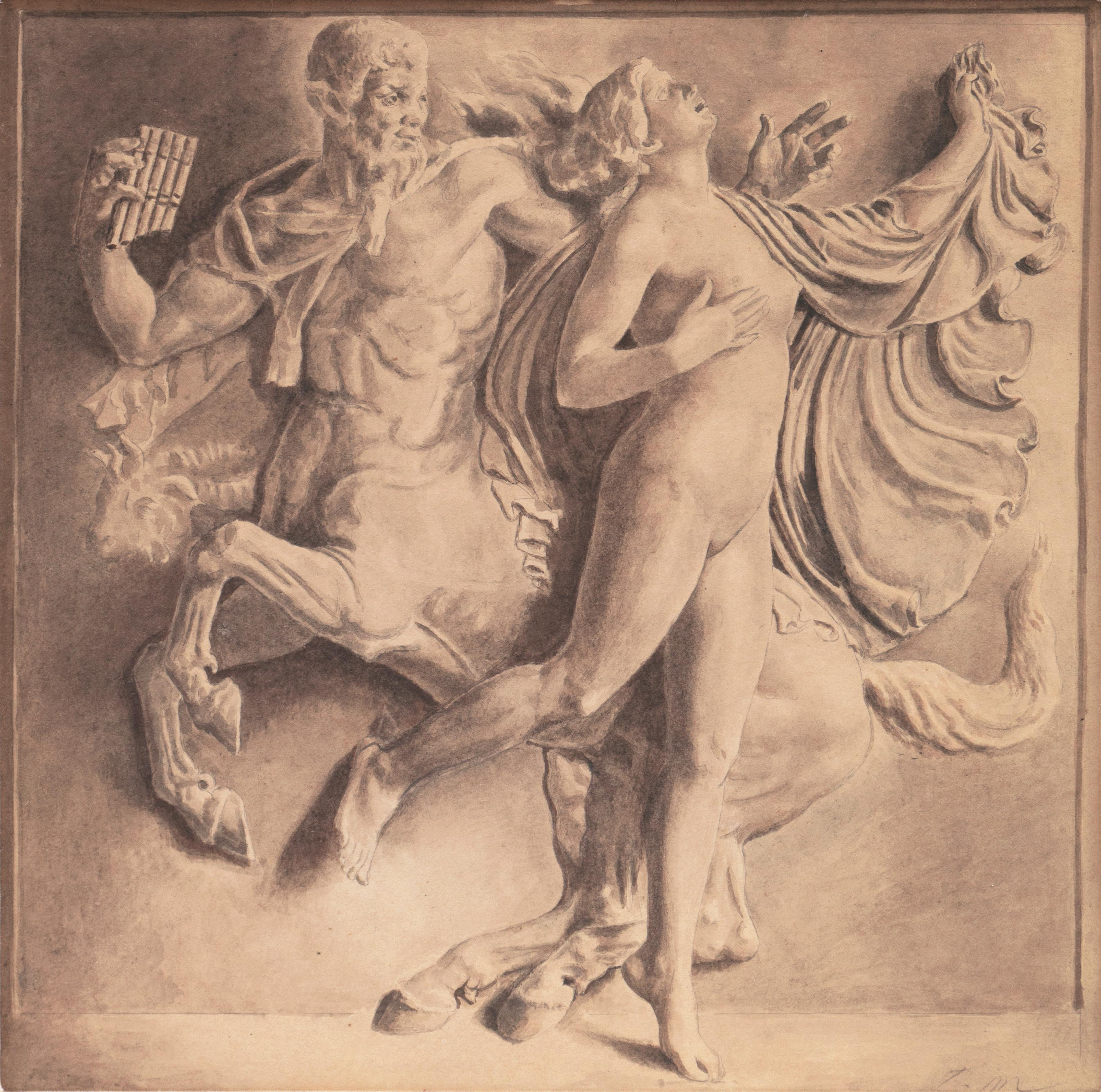 'Nymph with a Centaur', French School, Academic, Greek Mythological Grisaille