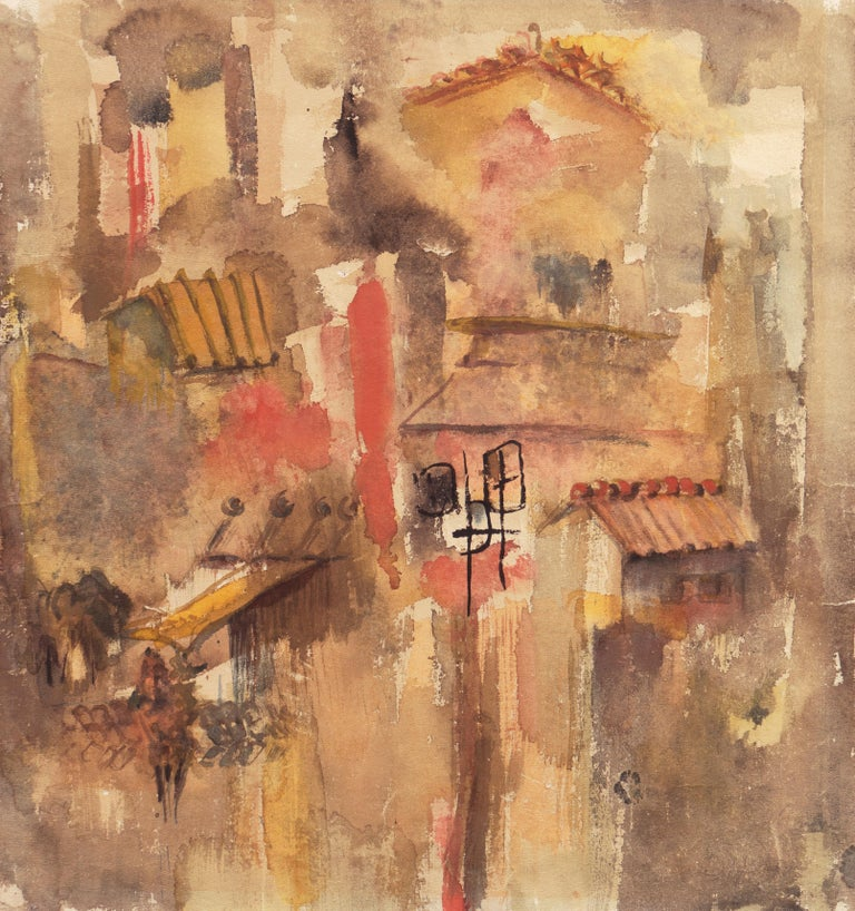 Dora Masters Abstract Drawing - 'Village in Tuscany', California Modernist woman artist, SFAA