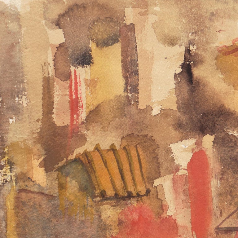 A semi-abstracted study of a Tuscan townscape with warm terra-cotta roofs and stucco hues of saffron and crimson.   Signed lower right, 'D. Masters' for Dora Masters (American, 1916-2003) and painted circa 1965.  This listed, California woman artist