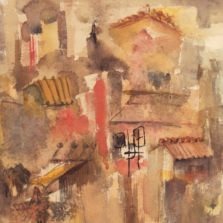 'Village in Tuscany', California Modernist woman artist, SFAA - Brown Abstract Drawing by Dora Masters