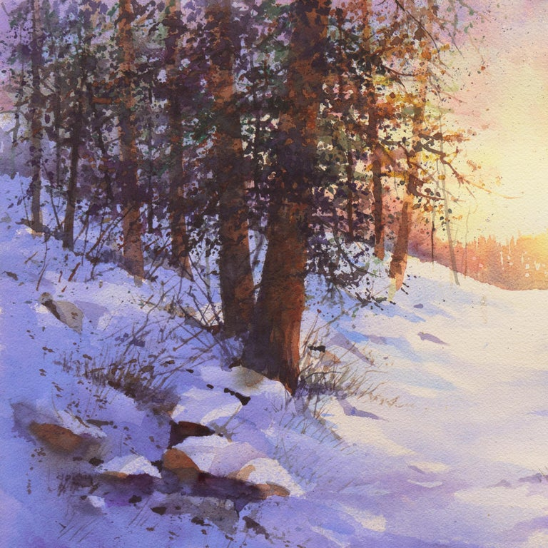 Snowy Mountain Sunrise - Gray Landscape Art by Harold Booth