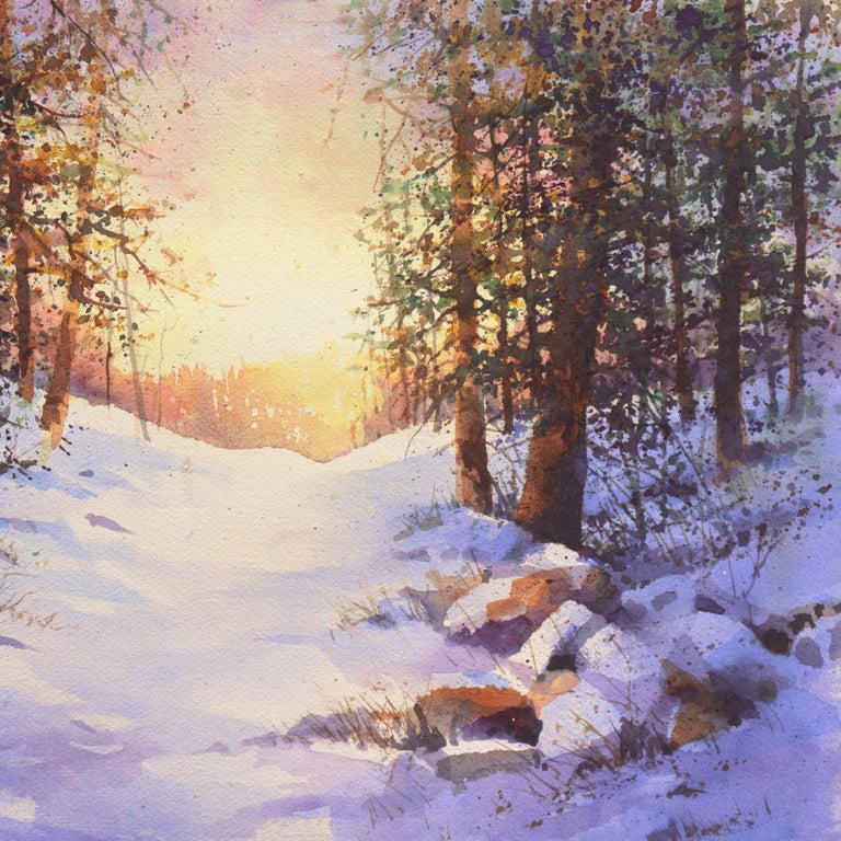 Snowy Mountain Sunrise For Sale 3
