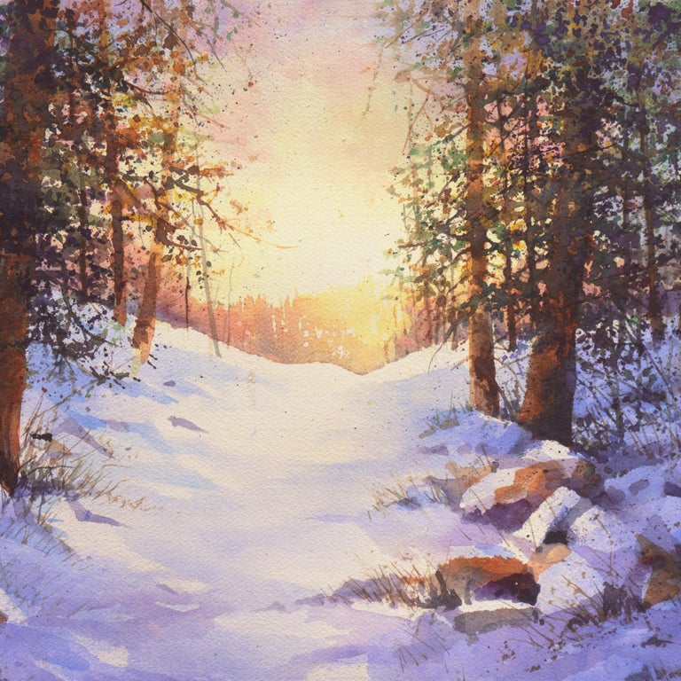 Snowy Mountain Sunrise For Sale 2