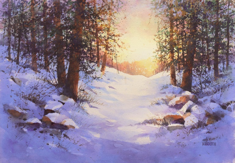 Harold Booth Landscape Art - Snowy Mountain Sunrise