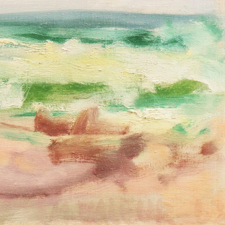 Ocean Breakers at Sunset    (Abstracted, Semi-abstract, Mid-century, Seascape) - Painting by Mogens Valeur