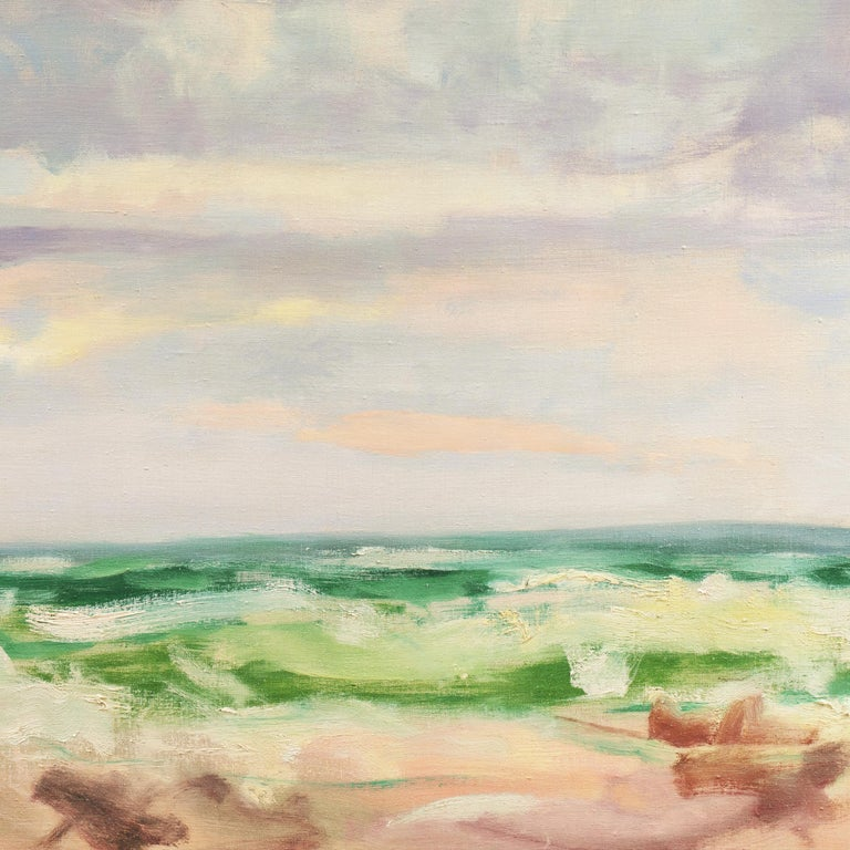 Ocean Breakers at Sunset    (Abstracted, Semi-abstract, Mid-century, Seascape) For Sale 1