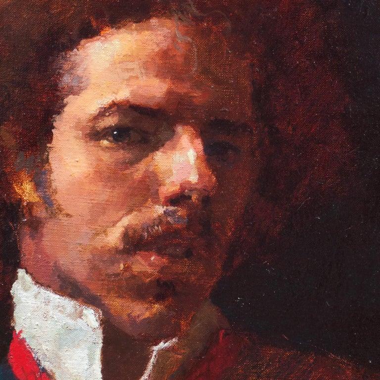 Self Portrait, 1982 - Black Portrait Painting by Douglas Ferrin