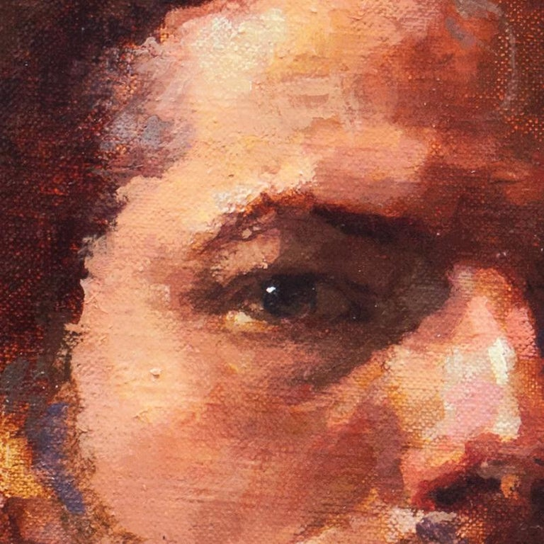 A dramatic and psychologically penetrating self-portrait showing the artist in chiaroscuro lighting, gazing towards the viewer and contrasted against a deep burnt umber background.   Signed lower right, 'Ferrin' for Douglas Ferrin (American, born,