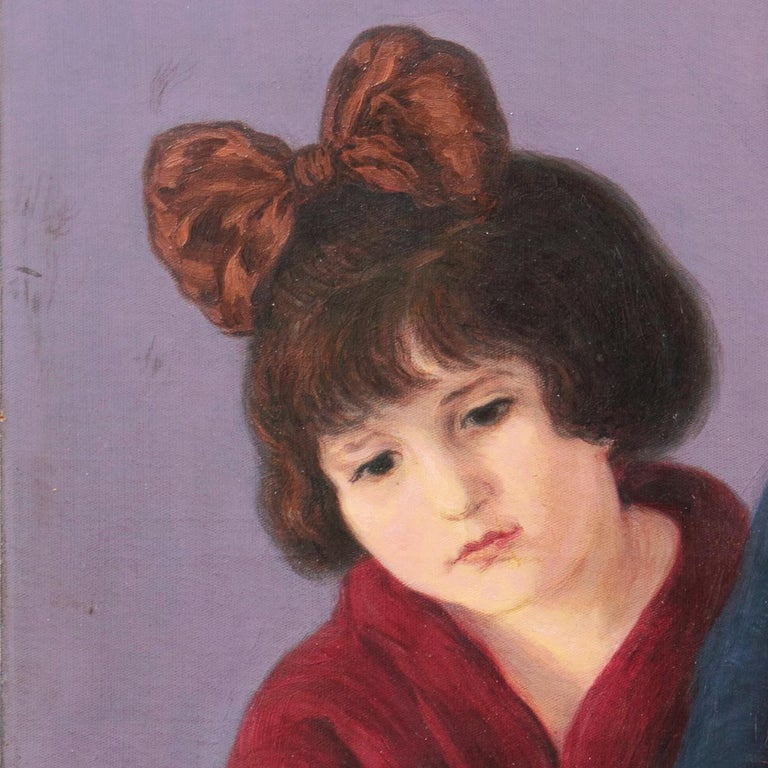 'Mother and Daughter Reading', Large Argentine oil - Black Portrait Painting by Arbo Francisco Benitez