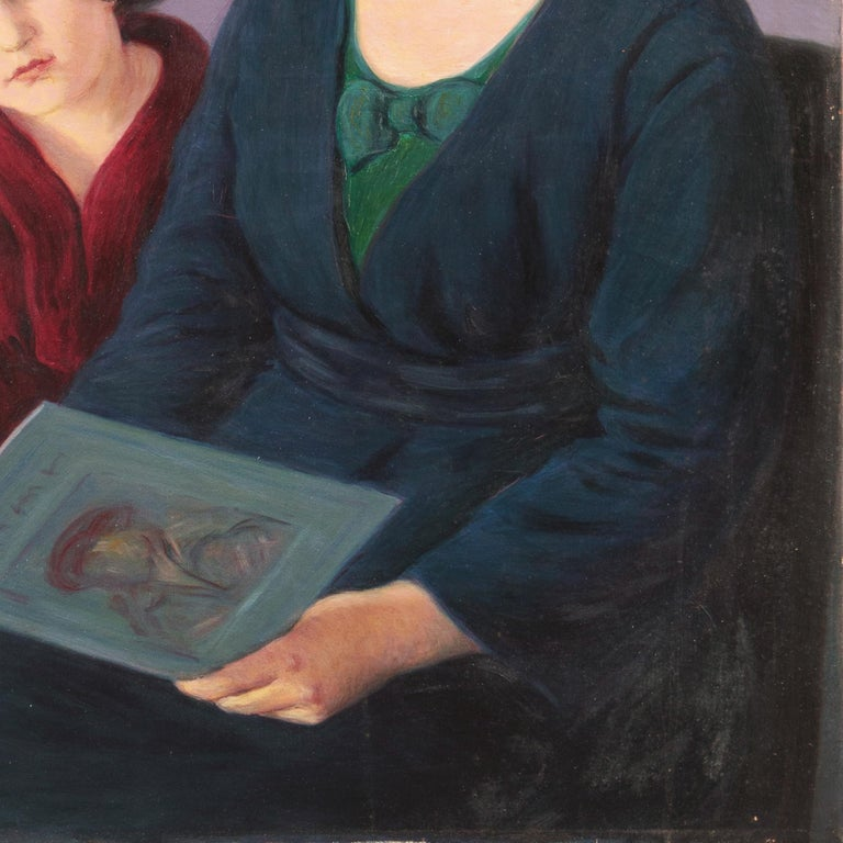'Mother and Daughter Reading', Large Argentine oil For Sale 2