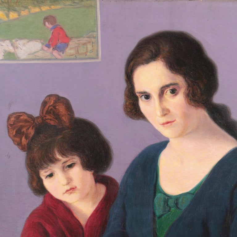'Mother and Daughter Reading', Large Argentine oil For Sale 1