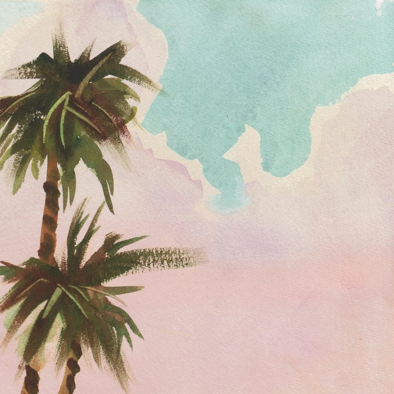 Caribbean Wind   (Mid-century, Woman Artist, Island, Landscape, Pink, Blue) For Sale 3