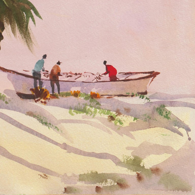 Caribbean Wind   (Mid-century, Woman Artist, Island, Landscape, Pink, Blue) For Sale 2