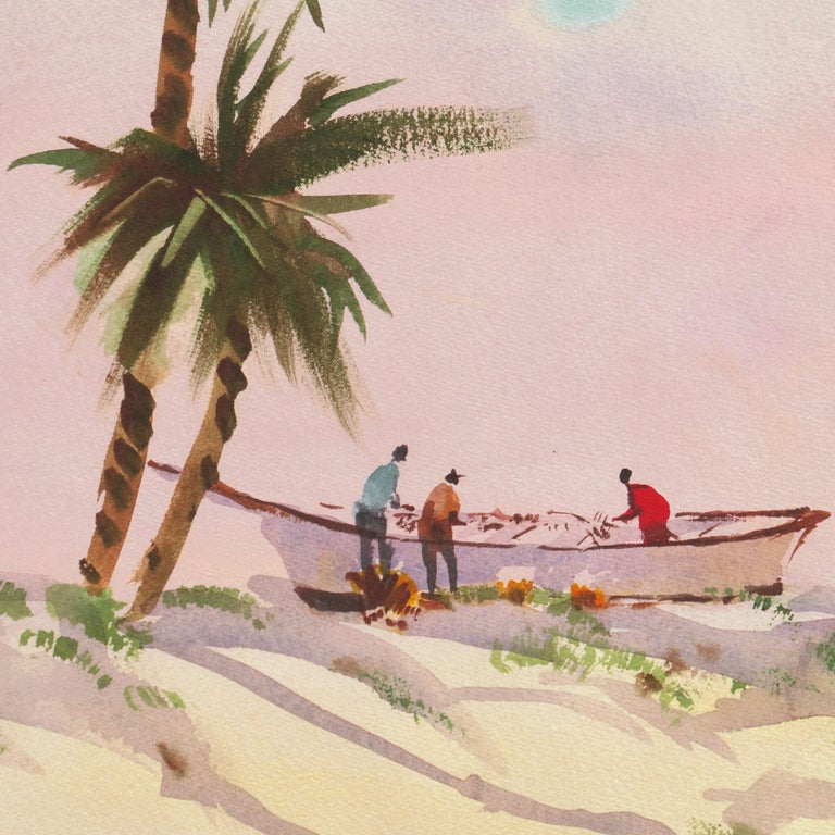 Watercolor painting of fishermen mending their nets in the shade of palm trees beneath a sunset sky.   Signed lower left