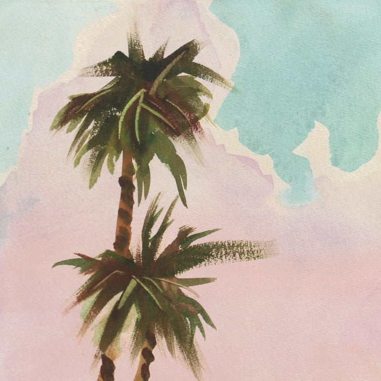 Caribbean Wind   (Mid-century, Woman Artist, Island, Landscape, Pink, Blue) For Sale 1