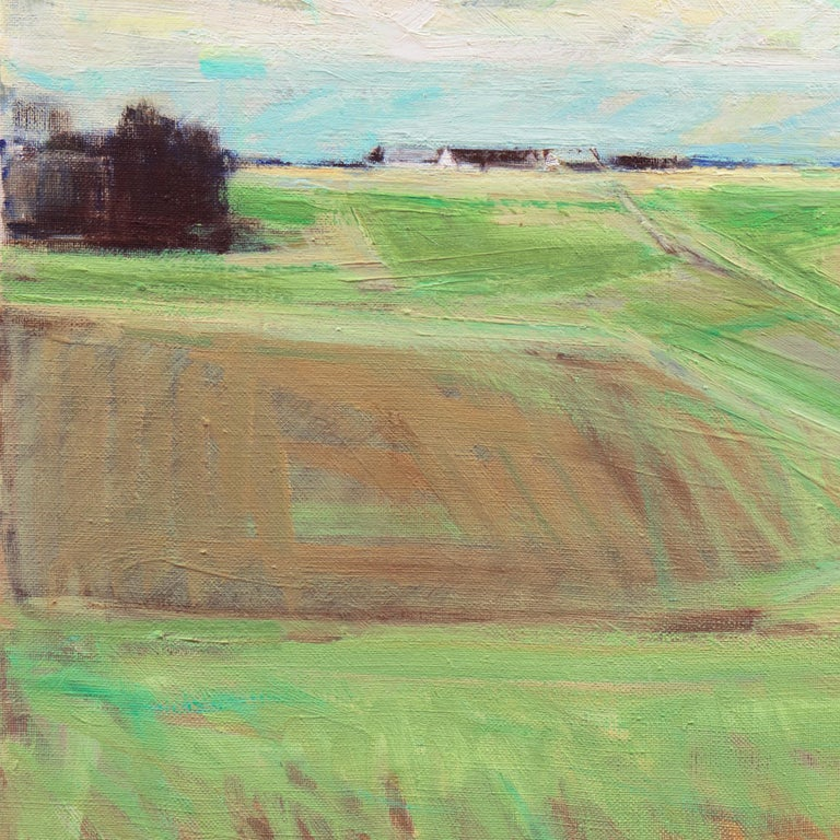 September Landscape   (Impressionism, Country, Denmark, Danish, Abstraction) - Brown Landscape Painting by Erik Norgard