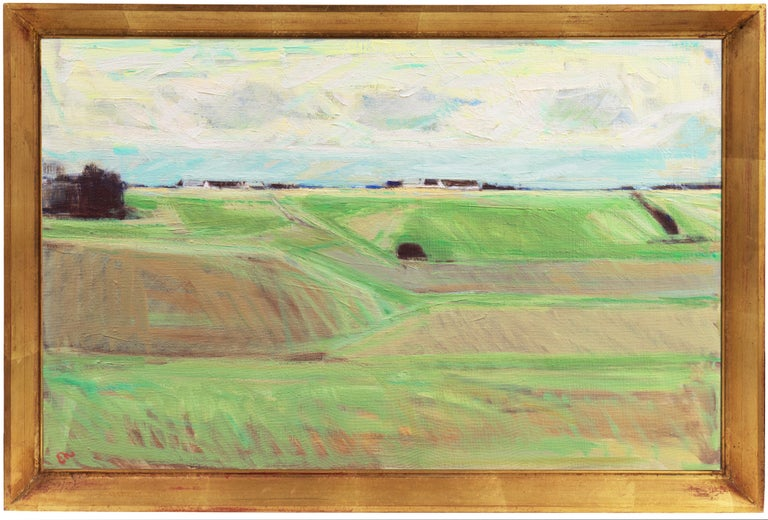 September Landscape   (Impressionism, Country, Denmark, Danish, Abstraction) - Painting by Erik Norgard