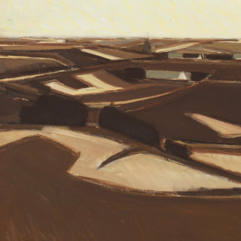 A poetic and painterly landscape showing a panoramic view of soil-rich fields with farm-buildings in the distance beneath light-suffused clouds.  Signed lower left with initials 'E.N.' for Erik Norgard (Danish, 1920-1997) ; additionally dated 1970,