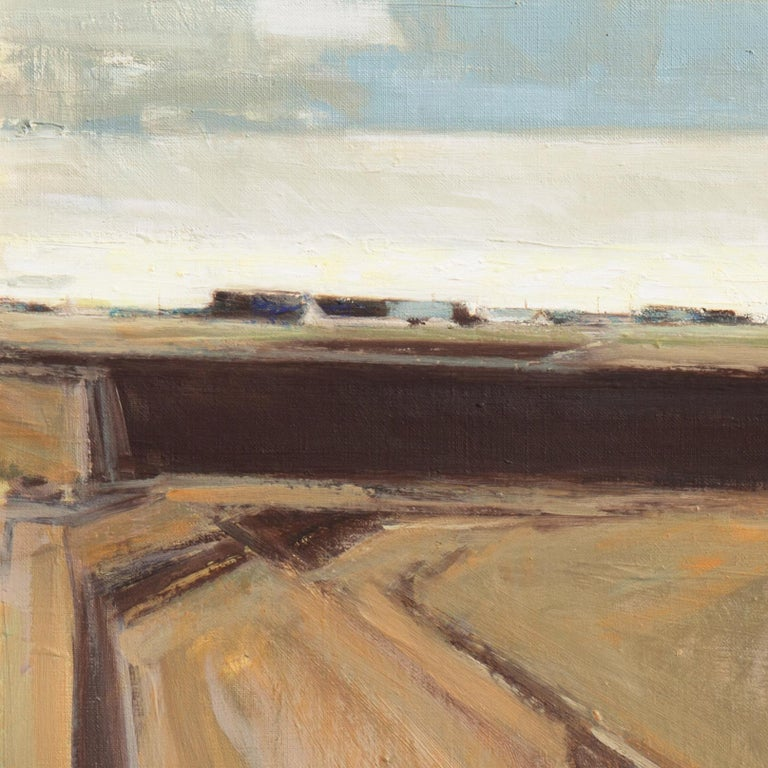 Rural Landscape   (Impressionism, Country, Denmark, Danish, Abstraction, framed) - Brown Landscape Painting by Erik Norgard