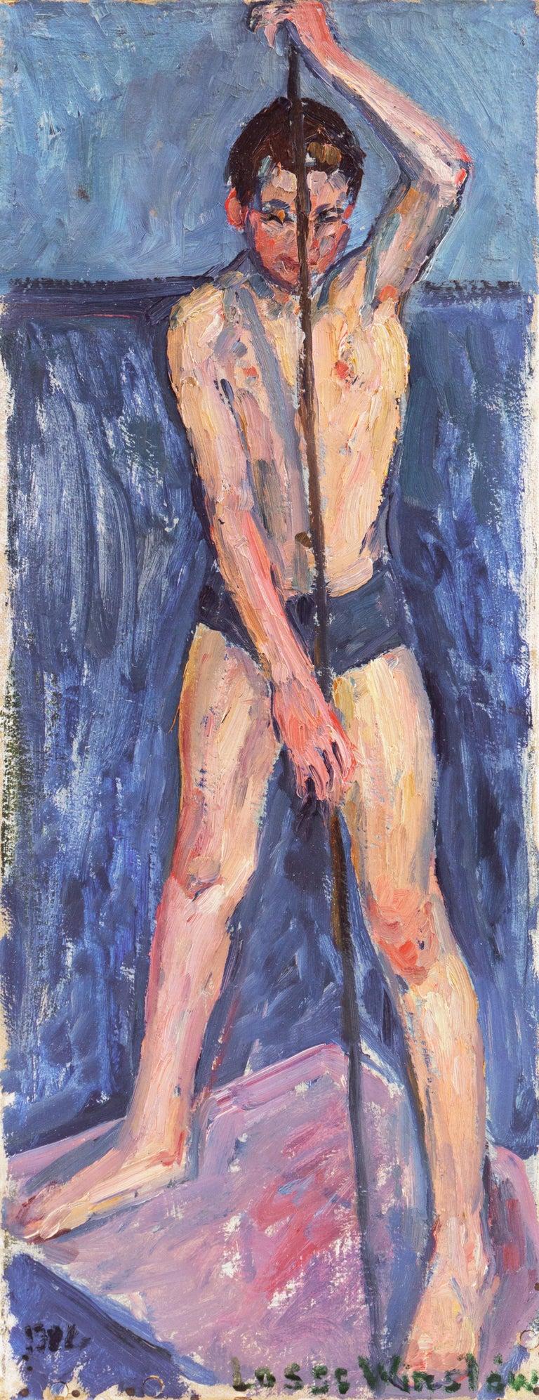 Lasse Winslow Figurative Painting - Danish Post-Impressionist Figural, 'The Fisherboy', Copenhagen