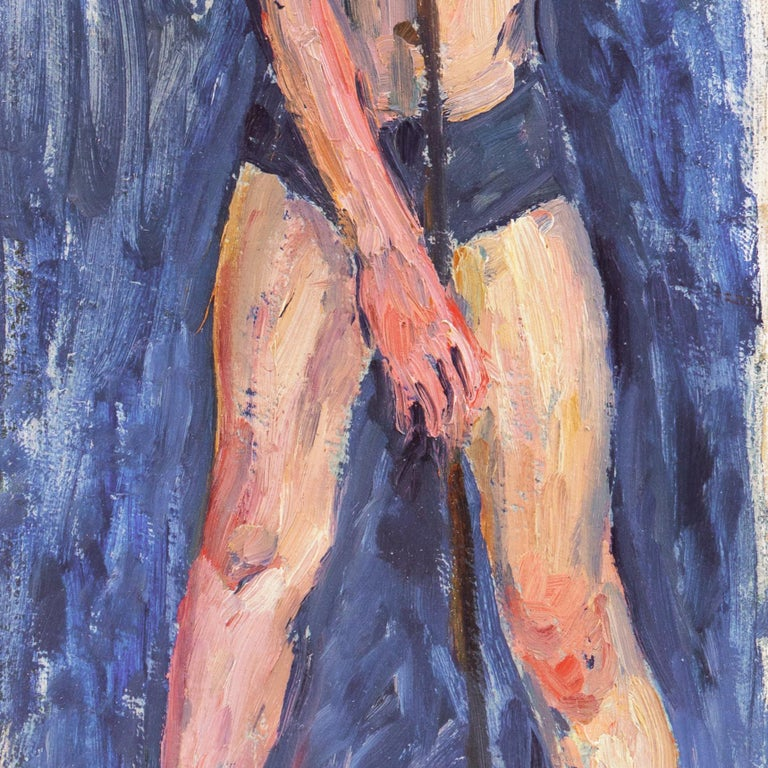 Danish Post-Impressionist Figural, 'The Fisherboy', Copenhagen - Black Figurative Painting by Lasse Winslow