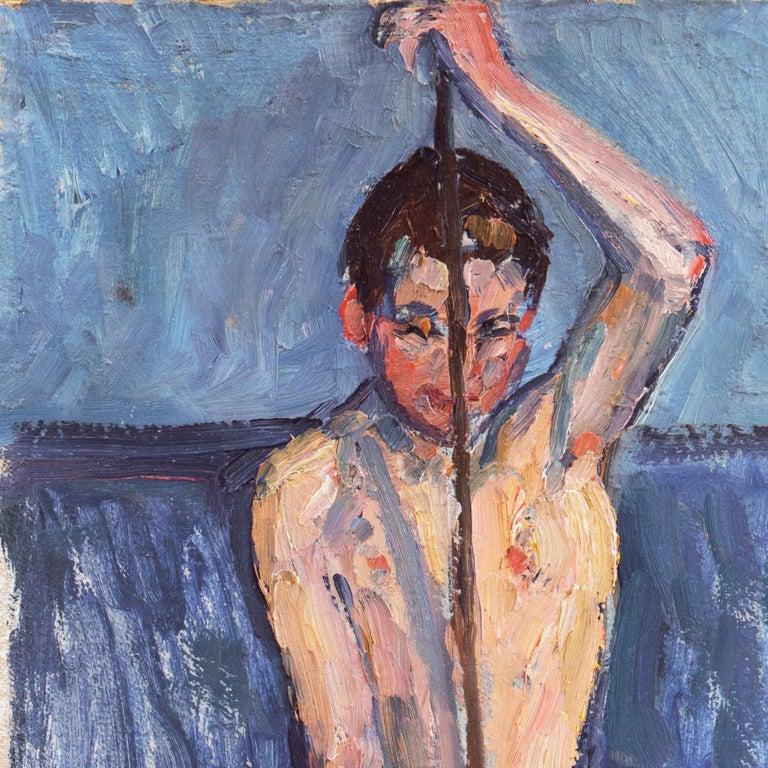 Danish Post-Impressionist Figural, 'The Fisherboy', Copenhagen - Modern Painting by Lasse Winslow