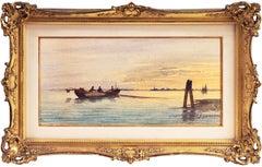 'Venice, Fishermen at Sunset', Venetian Lagoon watercolor