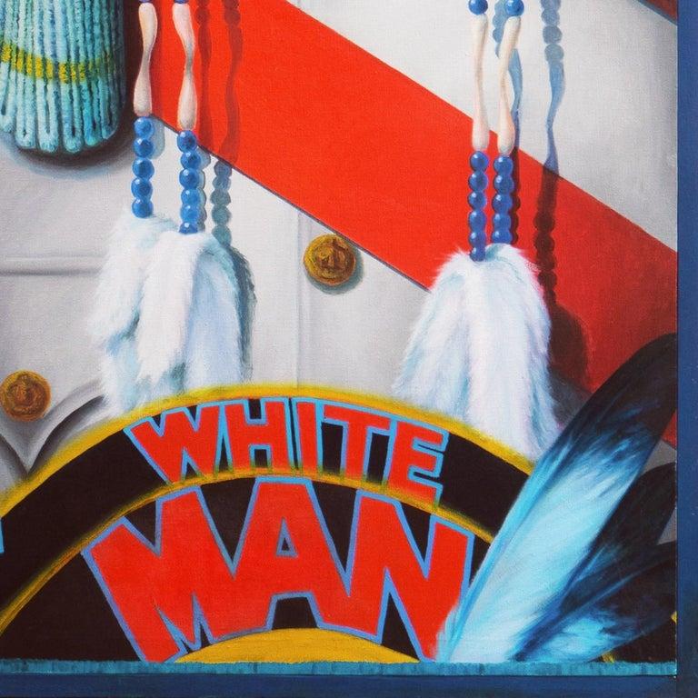 Monumental Modernist Pop Art Figural Oil, RCMP, First Nation, Native American For Sale 2