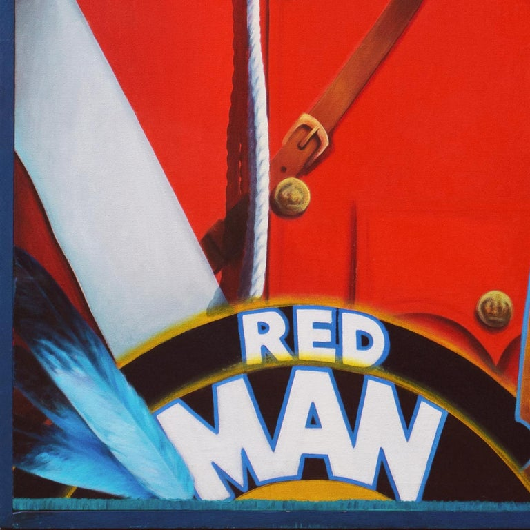 Monumental Modernist Pop Art Figural Oil, RCMP, First Nation, Native American For Sale 3