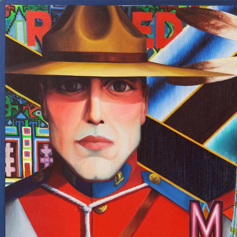 Monumental Modernist Pop Art Figural Oil, RCMP, First Nation, Native American For Sale 5