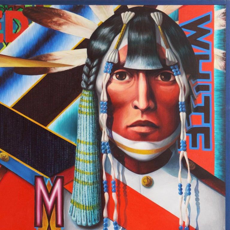 Monumental Modernist Pop Art Figural Oil, RCMP, First Nation, Native American For Sale 6