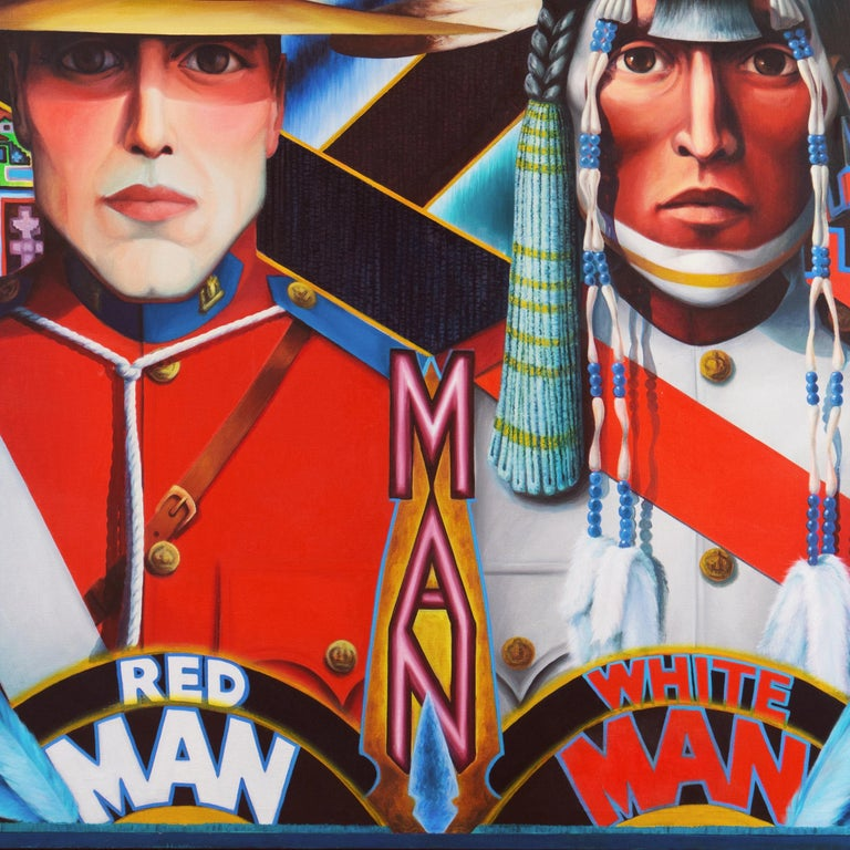 Monumental Modernist Pop Art Figural Oil, RCMP, First Nation, Native American For Sale 4