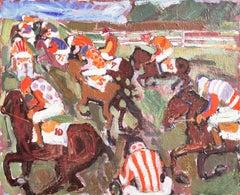 The Big Race  (Danish, Denmark, Equestrian, Woman Artist, Post-Impressionism)