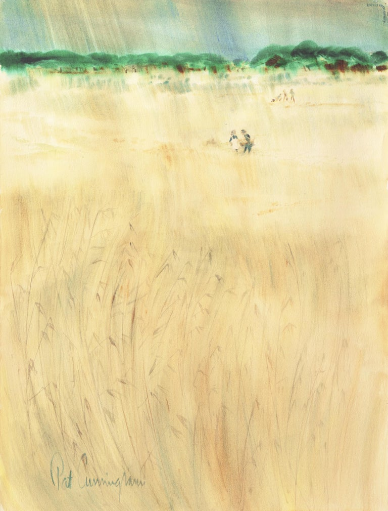 An expansive, semi-abstracted landscape showing a view of figures in a hayfield and distant trees beneath blue skies. Signed lower left, 'Pat Cunningham' for Patricia Stanley Cunningham (American, 1907-1984) and painted circa 1965.  The first woman