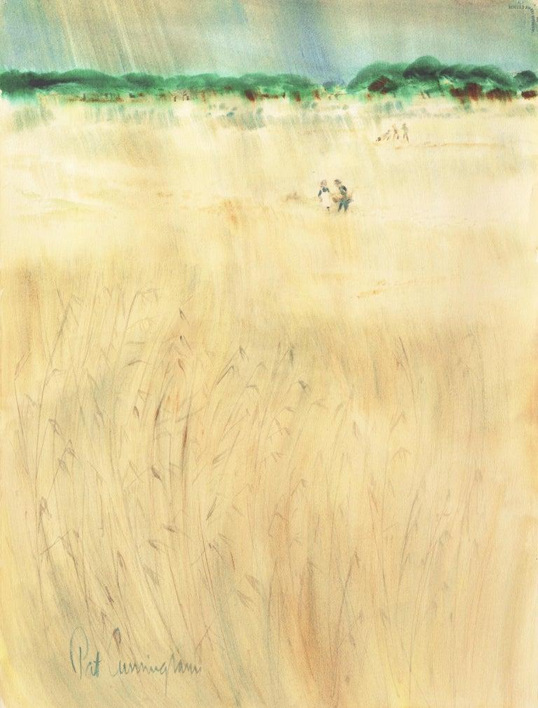 Patricia Stanley Cunningham Landscape Art - The Field Trip   (California, Modernism, Woman Artist, Genre, Carmel, WPA)