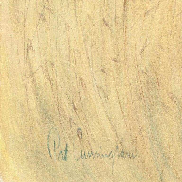 The Field Trip   (California, Modernism, Woman Artist, Genre, Carmel, WPA) - Orange Landscape Art by Patricia Stanley Cunningham