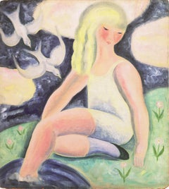 Art Deco Figural of a Young Woman with Doves, AIC, Salon d'Automne, Paris