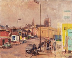 Modernist mid-century Cityscape, 'View of Brussels from a Window'