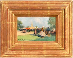 French Impressionist oil, 'After Mass, Brittany'